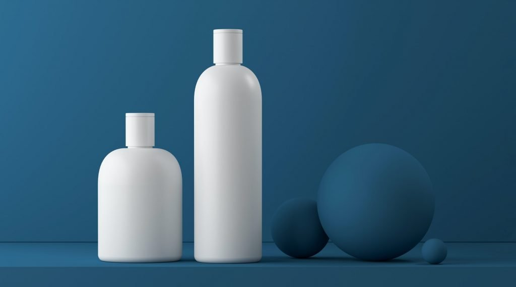Design of natural cosmetic cream , serum, skincare blank bottle packaging. bio organic product